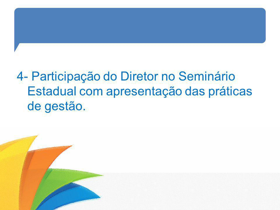 4- Participação do Diretor no Seminário Estadual com apresentação das práticas de gestão.