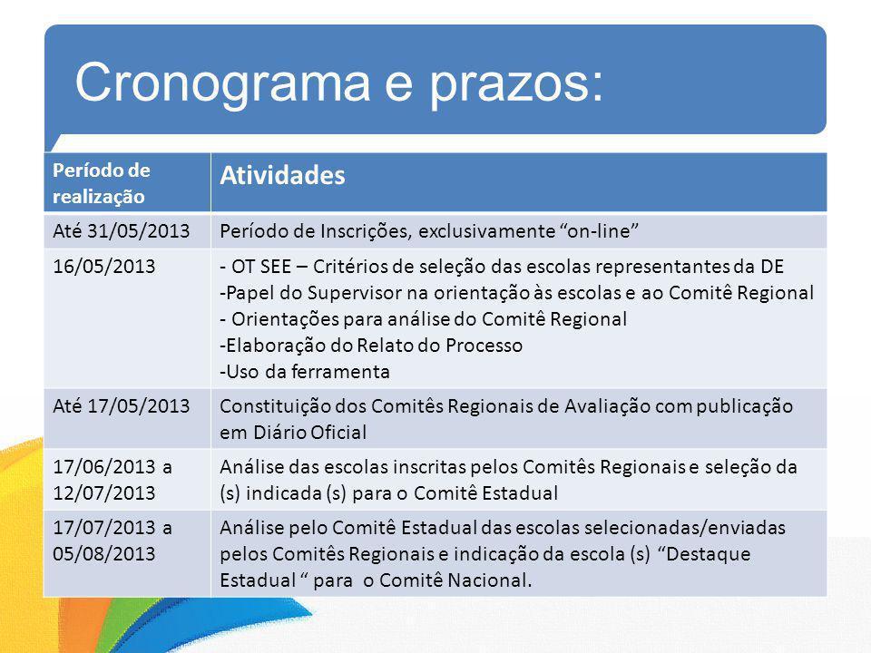 Cronograma e prazos: Atividades Período de realização Até 31/05/2013