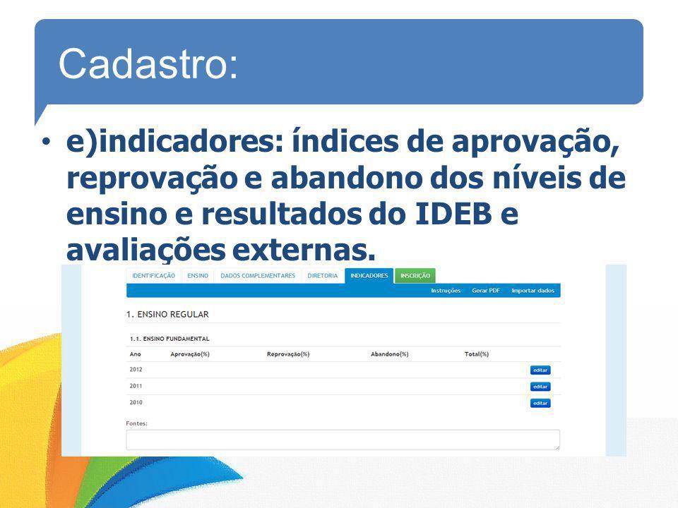 Cadastro: e)indicadores: índices de aprovação, reprovação e abandono dos níveis de ensino e resultados do IDEB e avaliações externas.