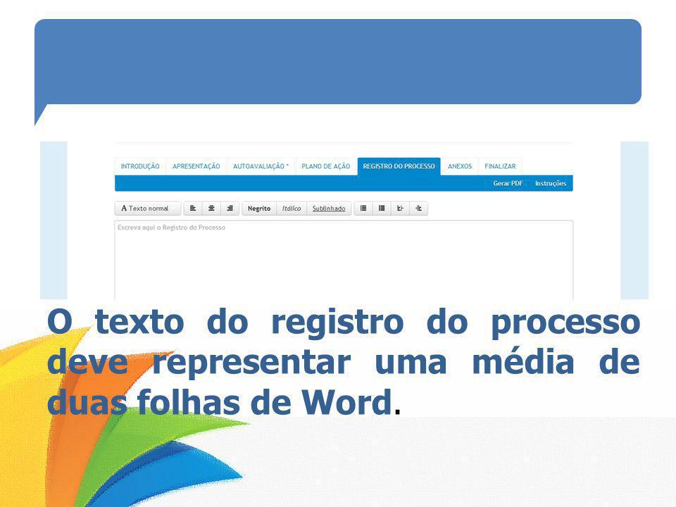 O texto do registro do processo deve representar uma média de duas folhas de Word.
