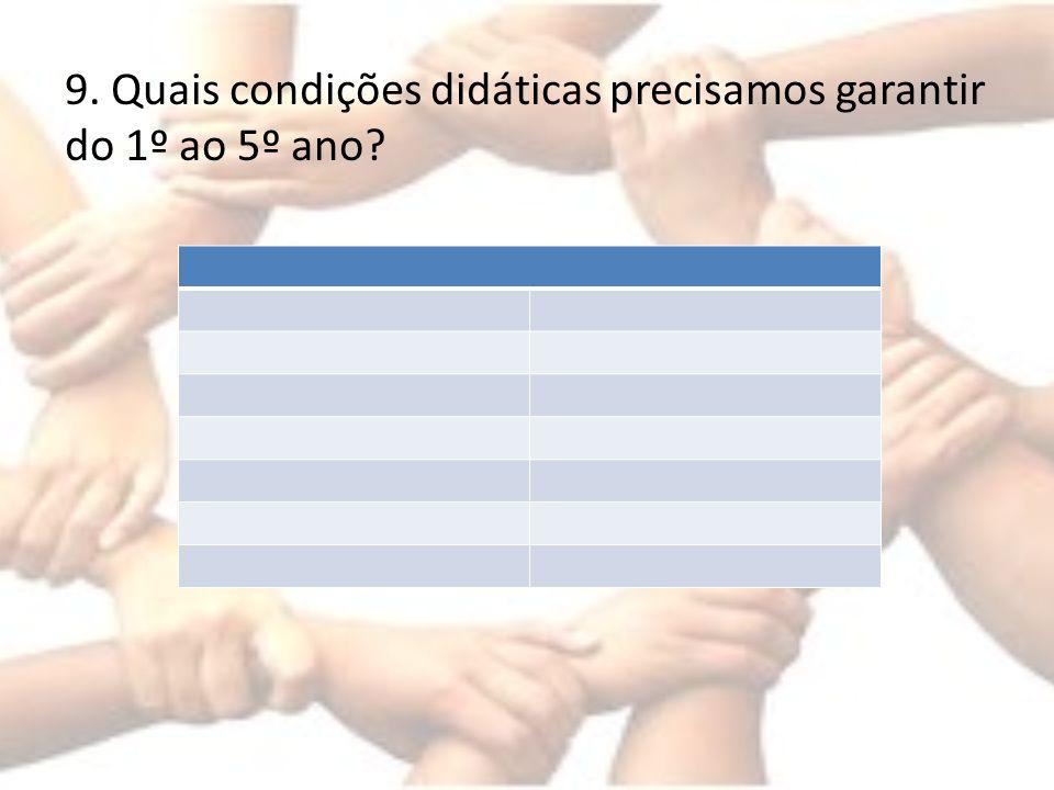 9. Quais condições didáticas precisamos garantir do 1º ao 5º ano