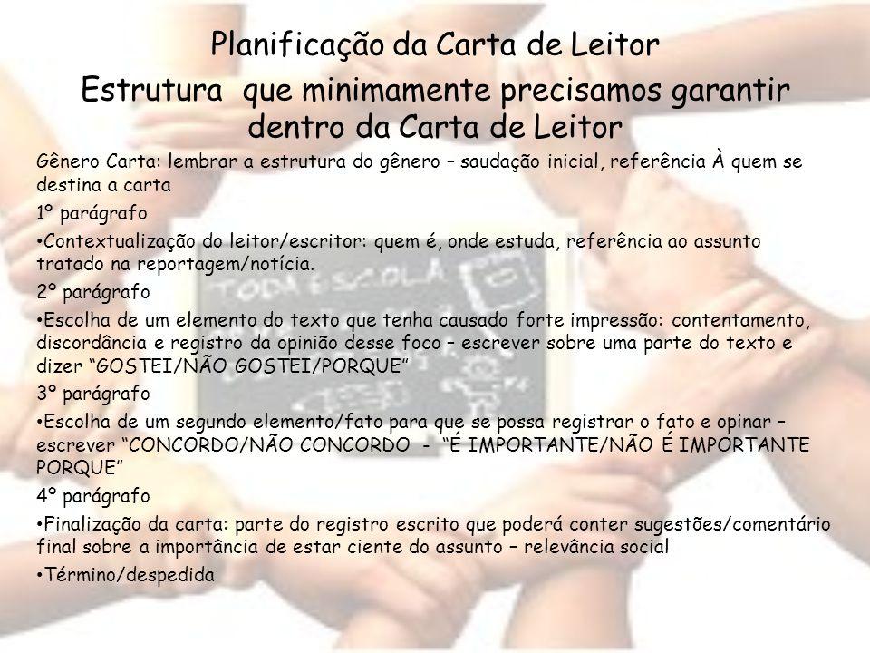 Planificação da Carta de Leitor