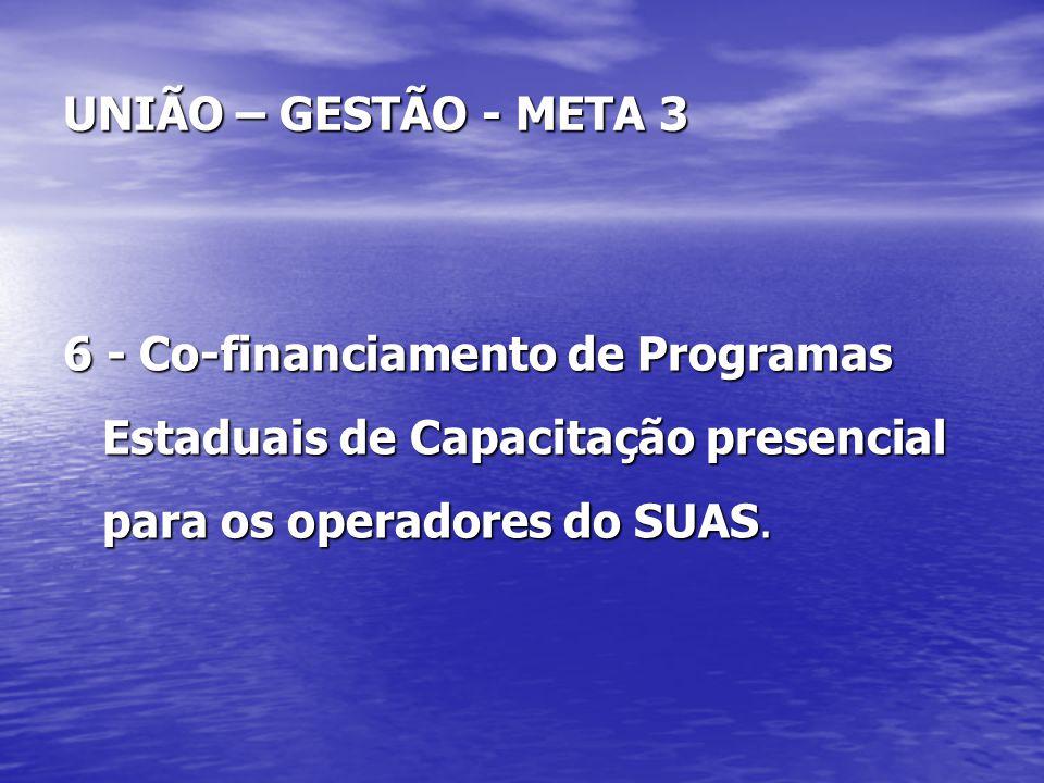 UNIÃO – GESTÃO - META 3 6 - Co-financiamento de Programas Estaduais de Capacitação presencial para os operadores do SUAS.