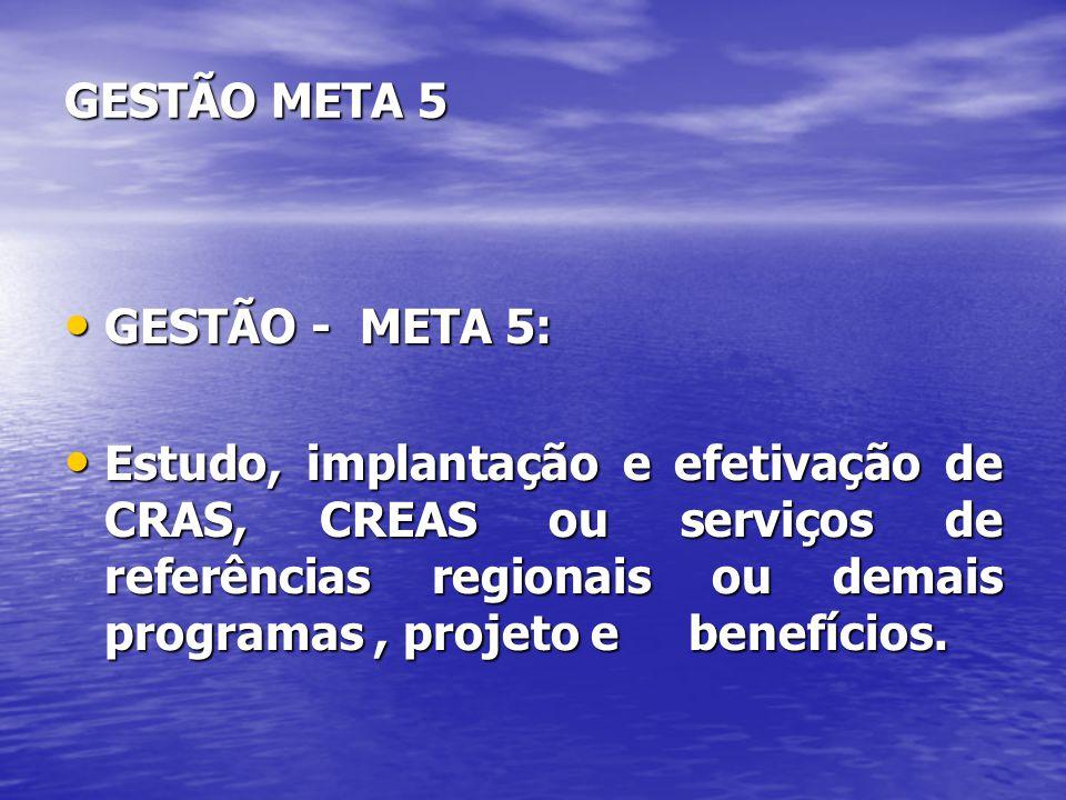 GESTÃO META 5 GESTÃO - META 5: