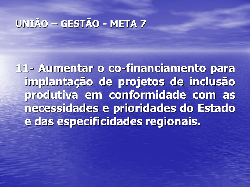 UNIÃO – GESTÃO - META 7