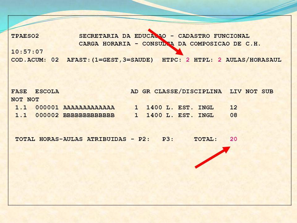 TPAESO2 SECRETARIA DA EDUCACAO - CADASTRO FUNCIONAL