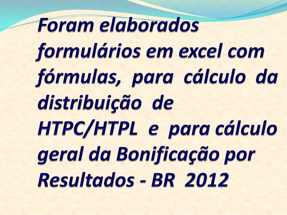 Foram elaborados formulários em excel com fórmulas, para cálculo da distribuição de HTPC/HTPL e para cálculo geral da Bonificação por Resultados - BR 2012