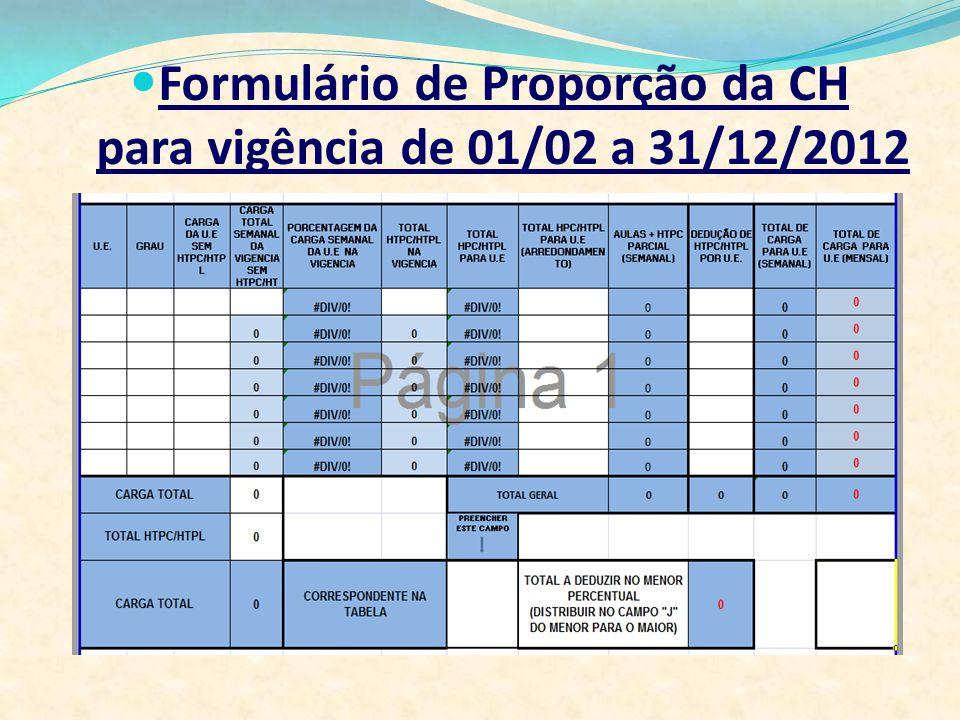 Formulário de Proporção da CH para vigência de 01/02 a 31/12/2012
