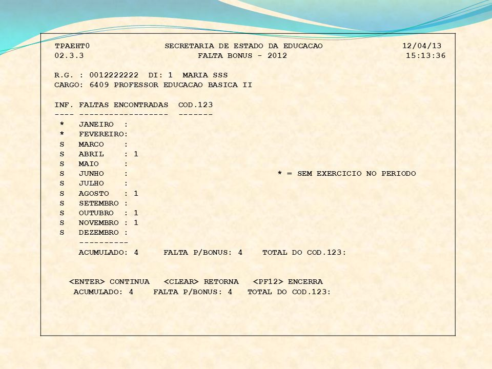 CARGO: 6409 PROFESSOR EDUCACAO BASICA II