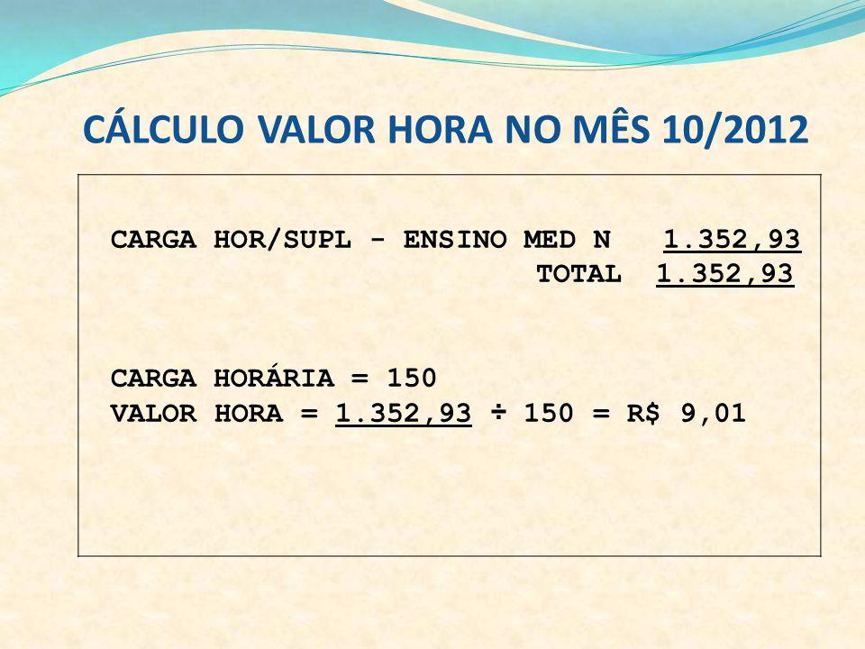 CÁLCULO VALOR HORA NO MÊS 10/2012