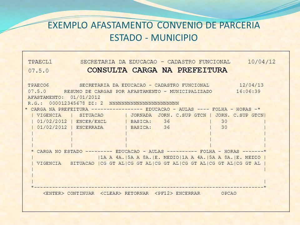 EXEMPLO AFASTAMENTO CONVENIO DE PARCERIA ESTADO - MUNICIPIO