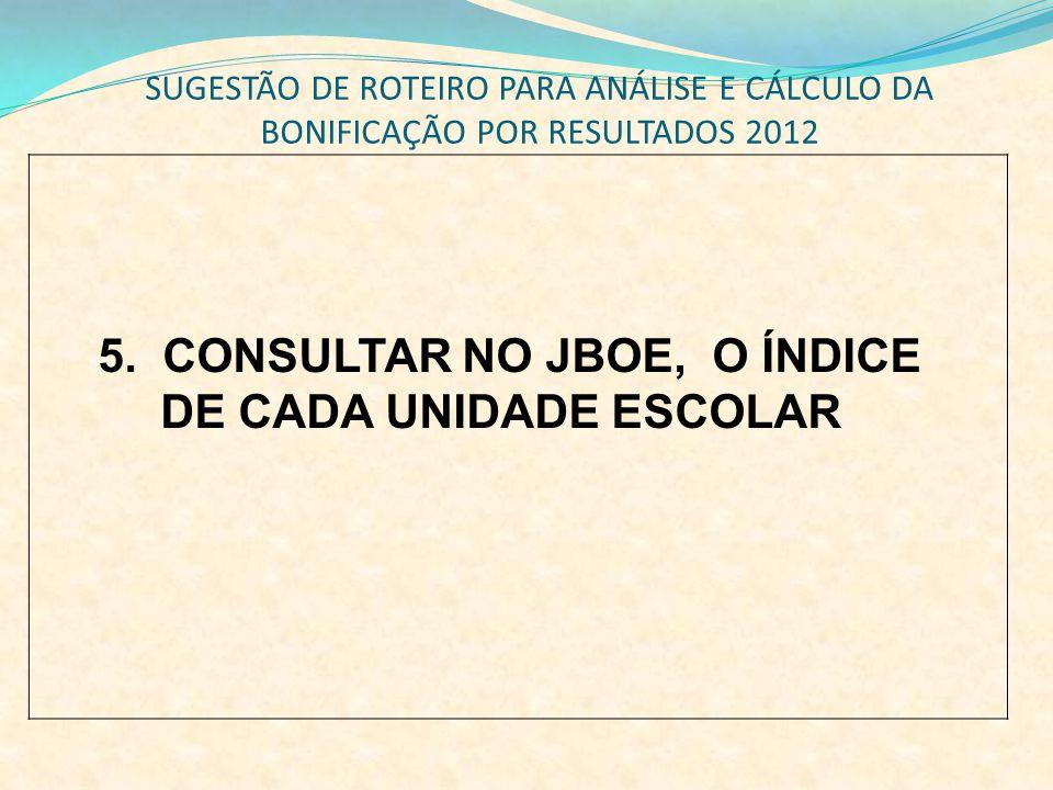 5. CONSULTAR NO JBOE, O ÍNDICE DE CADA UNIDADE ESCOLAR