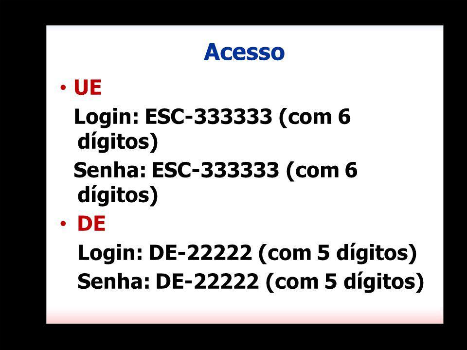 Acesso UE Login: ESC-333333 (com 6 dígitos)