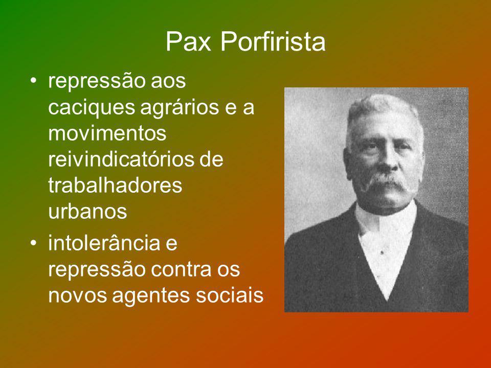 Pax Porfirista repressão aos caciques agrários e a movimentos reivindicatórios de trabalhadores urbanos.