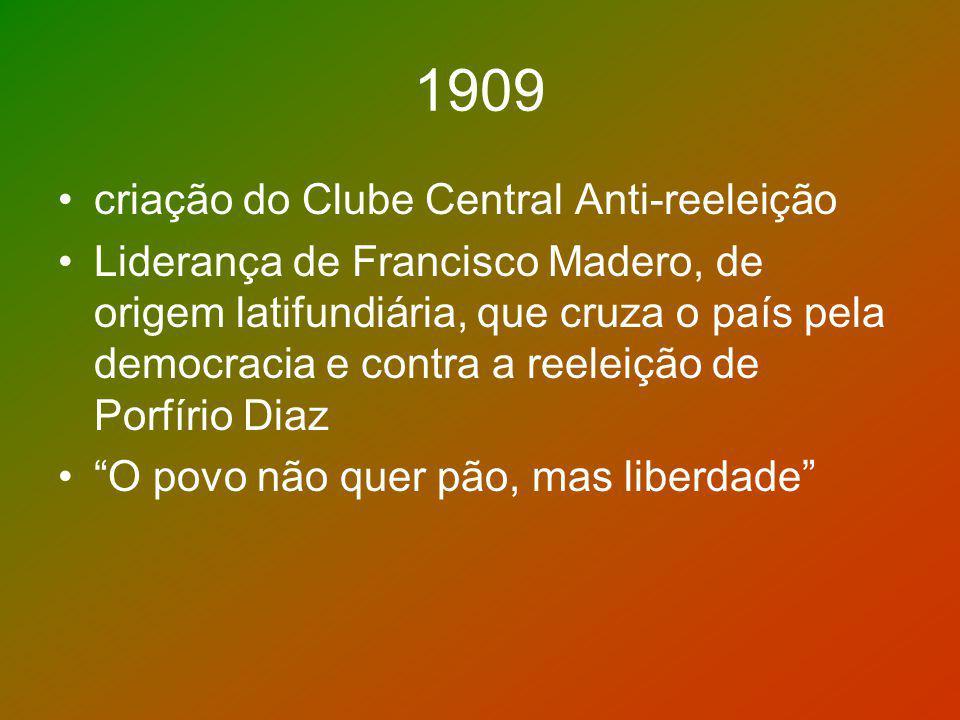 1909 criação do Clube Central Anti-reeleição