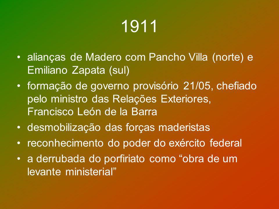 1911 alianças de Madero com Pancho Villa (norte) e Emiliano Zapata (sul)