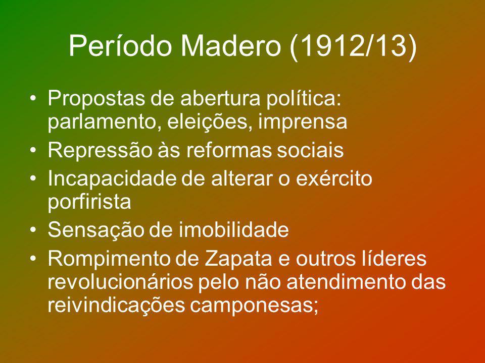 Período Madero (1912/13) Propostas de abertura política: parlamento, eleições, imprensa. Repressão às reformas sociais.