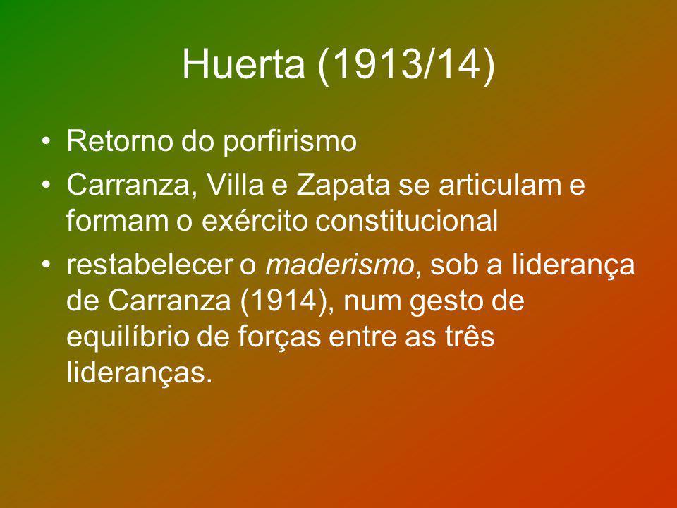 Huerta (1913/14) Retorno do porfirismo