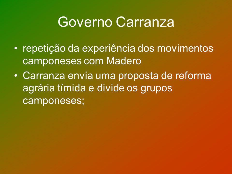 Governo Carranza repetição da experiência dos movimentos camponeses com Madero.
