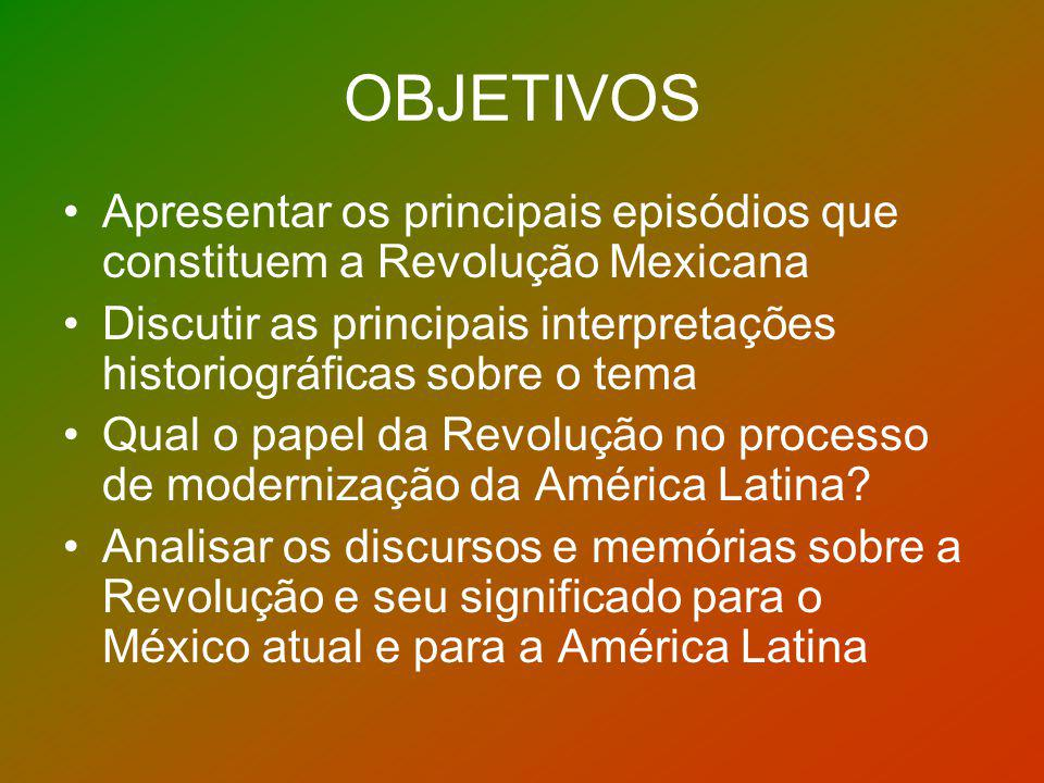 OBJETIVOS Apresentar os principais episódios que constituem a Revolução Mexicana.