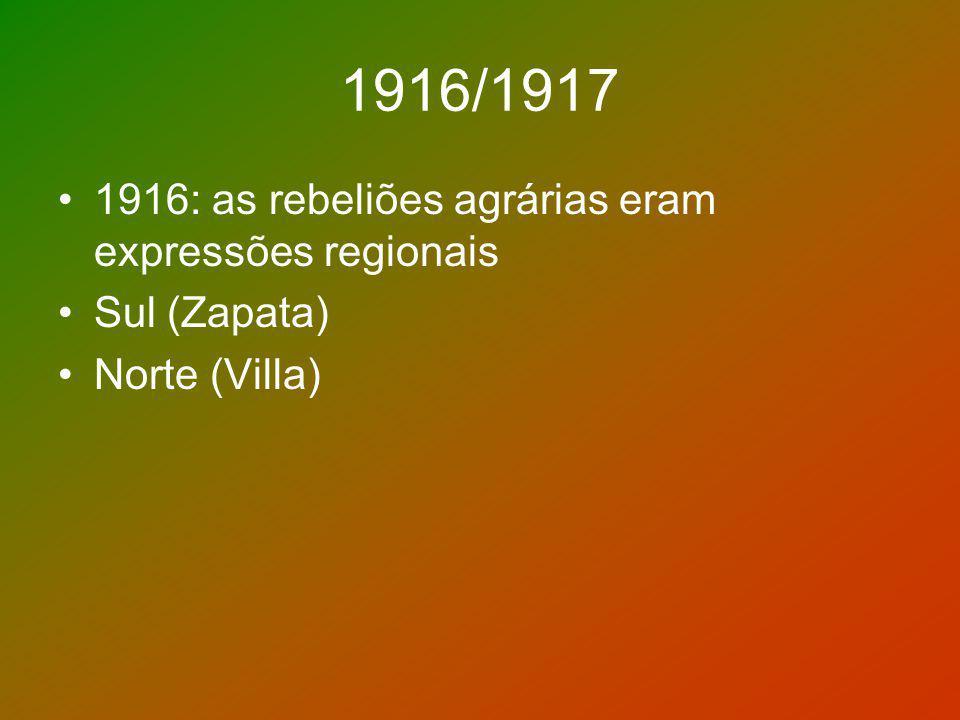 1916/1917 1916: as rebeliões agrárias eram expressões regionais
