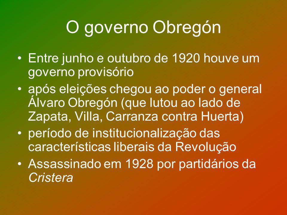 O governo Obregón Entre junho e outubro de 1920 houve um governo provisório.