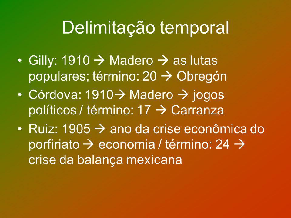 Delimitação temporal Gilly: 1910  Madero  as lutas populares; término: 20  Obregón.