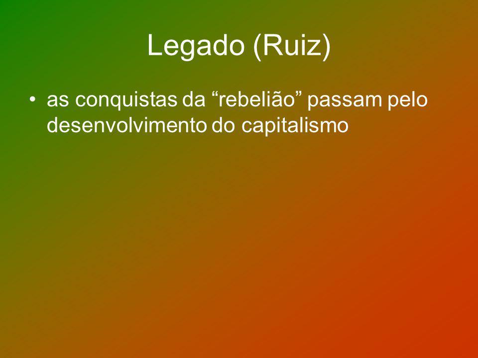Legado (Ruiz) as conquistas da rebelião passam pelo desenvolvimento do capitalismo
