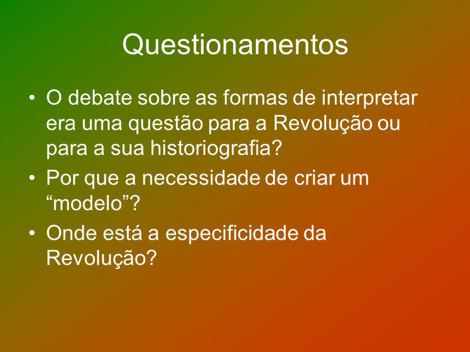 Questionamentos O debate sobre as formas de interpretar era uma questão para a Revolução ou para a sua historiografia