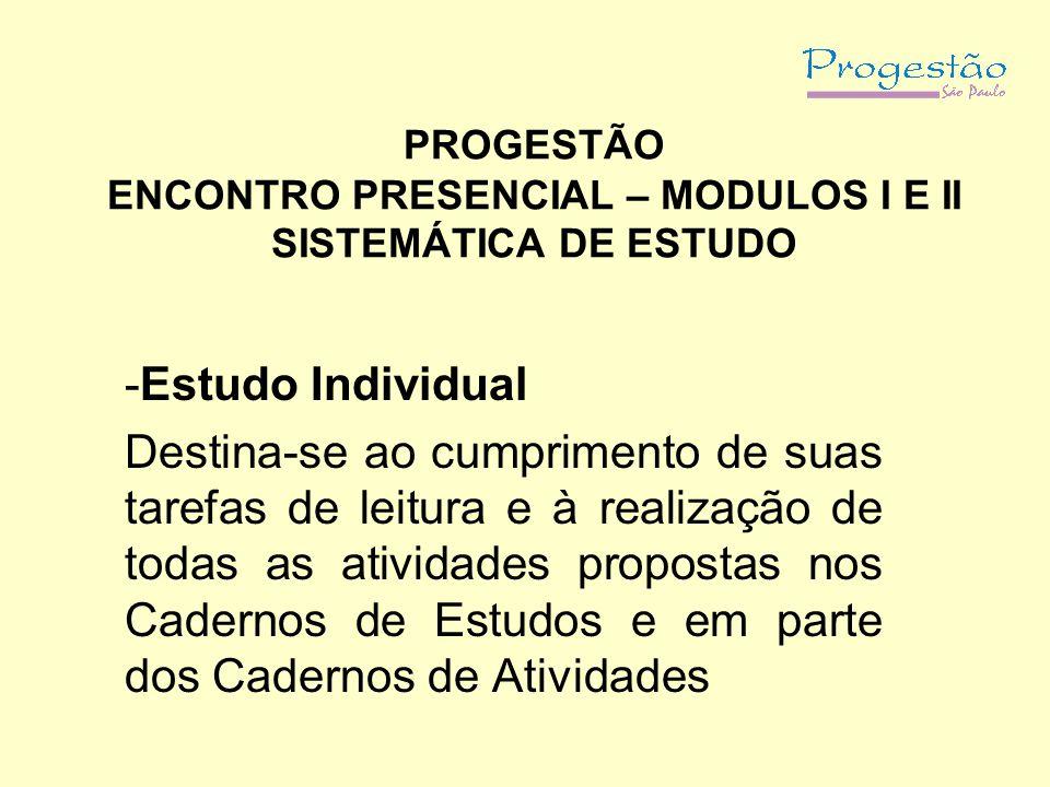 PROGESTÃO ENCONTRO PRESENCIAL – MODULOS I E II SISTEMÁTICA DE ESTUDO