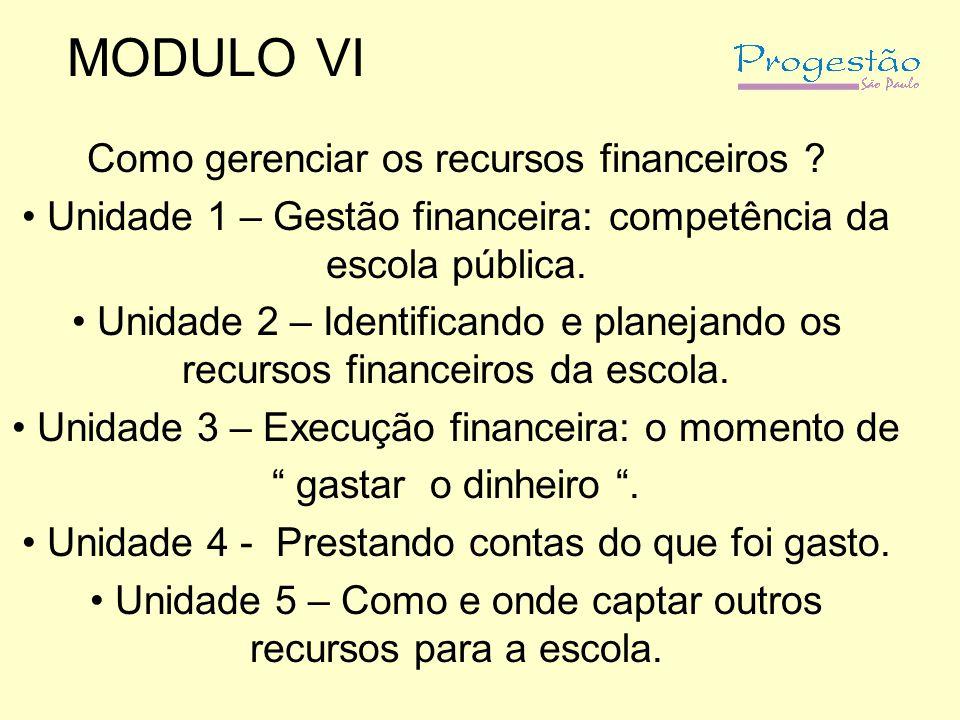 MODULO VI Como gerenciar os recursos financeiros