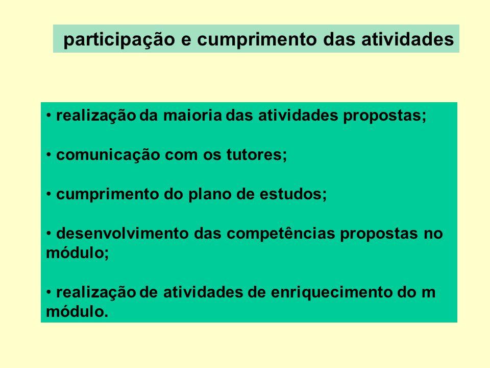 participação e cumprimento das atividades