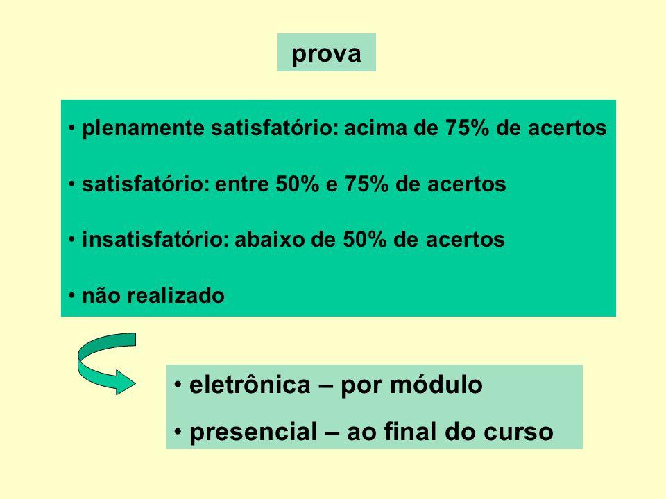 eletrônica – por módulo presencial – ao final do curso