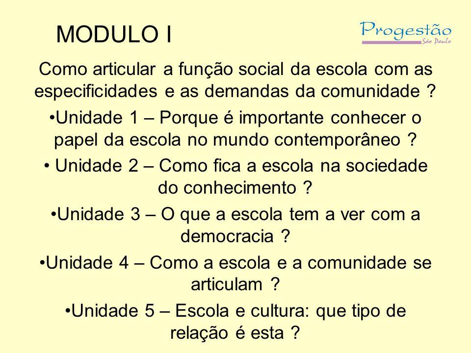 MODULO I Como articular a função social da escola com as especificidades e as demandas da comunidade