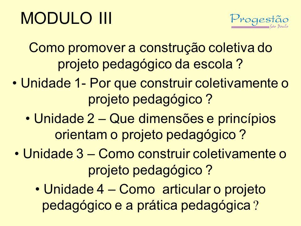 MODULO III Como promover a construção coletiva do projeto pedagógico da escola Unidade 1- Por que construir coletivamente o projeto pedagógico