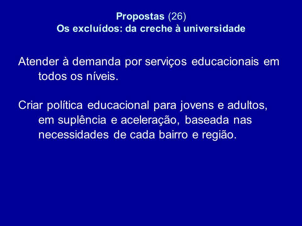 Propostas (26) Os excluídos: da creche à universidade