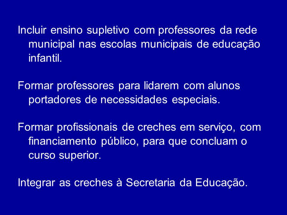 Incluir ensino supletivo com professores da rede municipal nas escolas municipais de educação infantil.