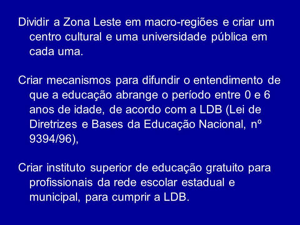 Dividir a Zona Leste em macro-regiões e criar um centro cultural e uma universidade pública em cada uma.