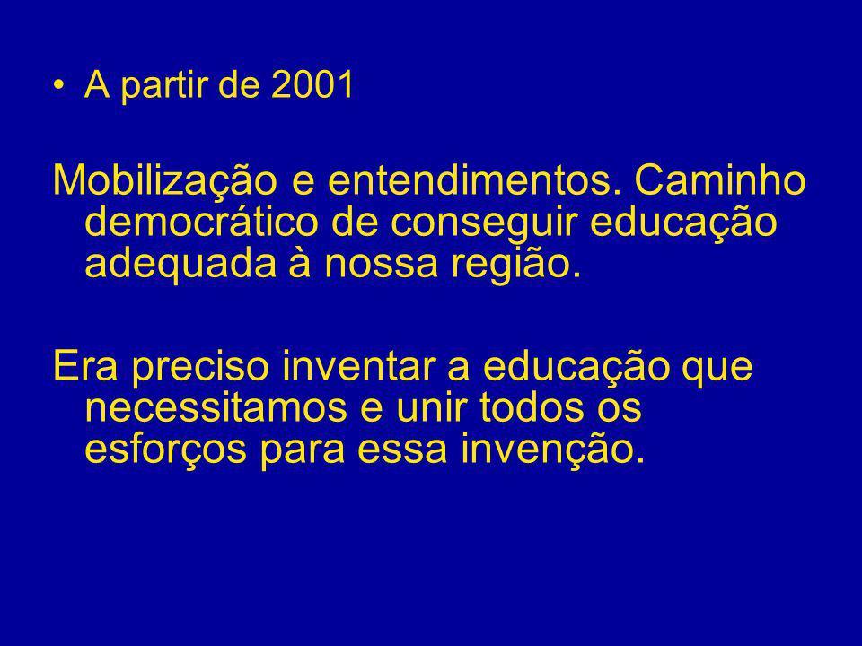 A partir de 2001 Mobilização e entendimentos. Caminho democrático de conseguir educação adequada à nossa região.
