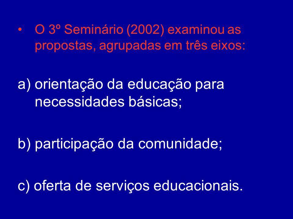 orientação da educação para necessidades básicas;