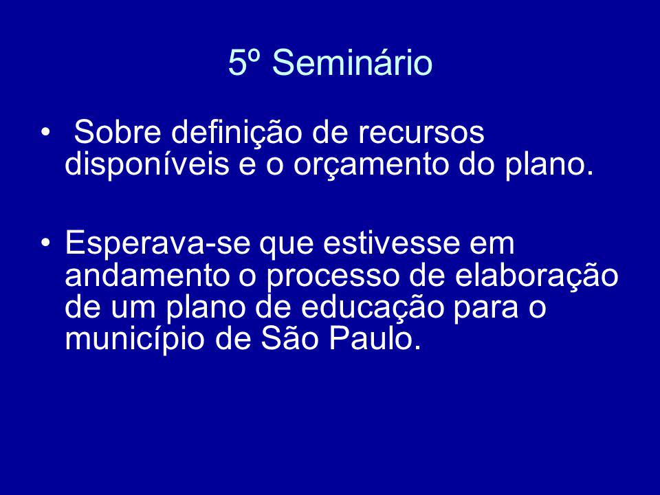 5º Seminário Sobre definição de recursos disponíveis e o orçamento do plano.