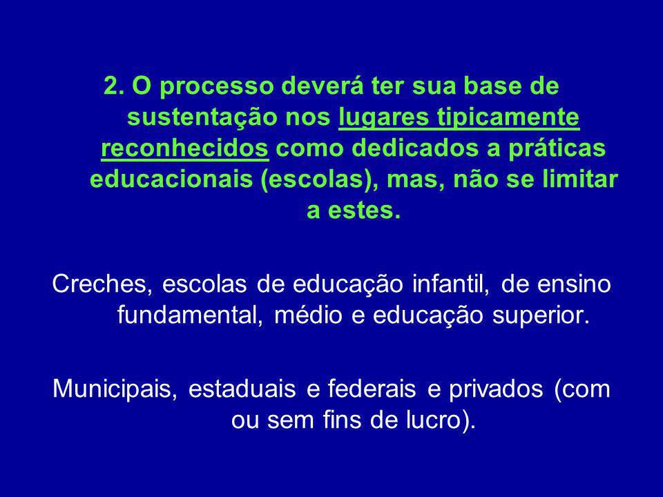 2. O processo deverá ter sua base de sustentação nos lugares tipicamente reconhecidos como dedicados a práticas educacionais (escolas), mas, não se limitar a estes.