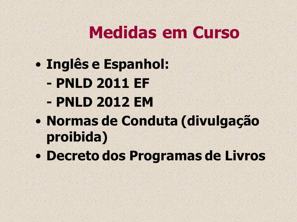 Medidas em Curso Inglês e Espanhol: - PNLD 2011 EF. - PNLD 2012 EM. Normas de Conduta (divulgação proibida)