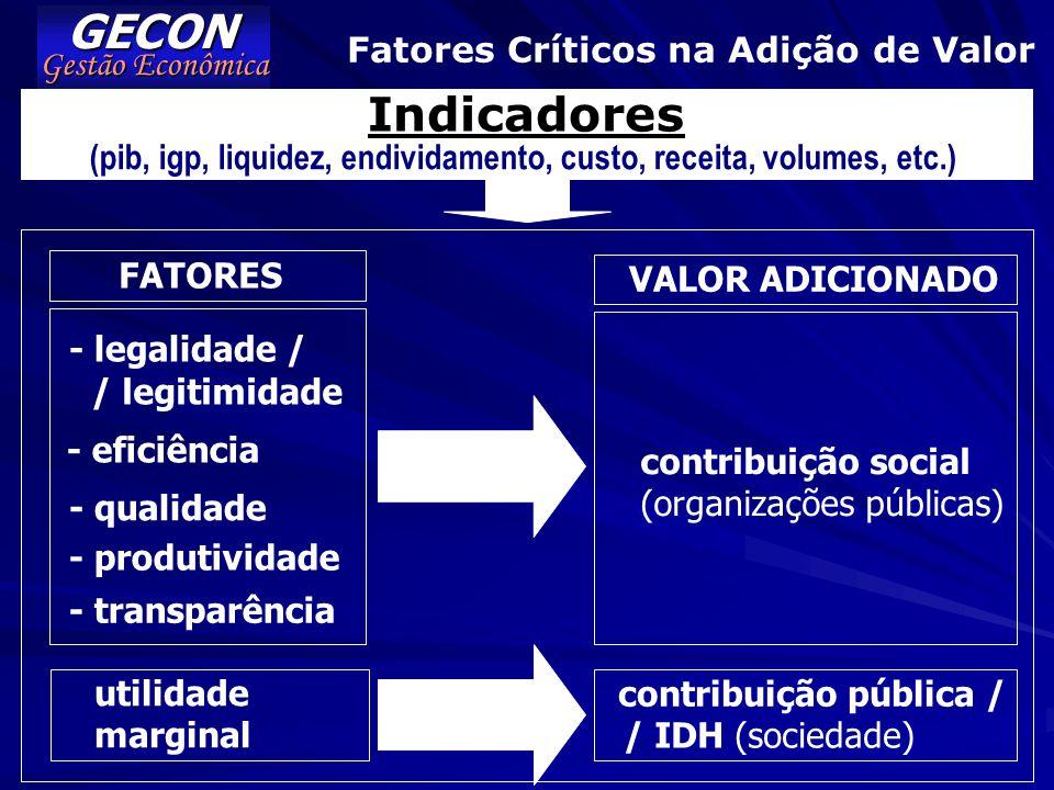 GECON Indicadores Fatores Críticos na Adição de Valor Gestão Econômica