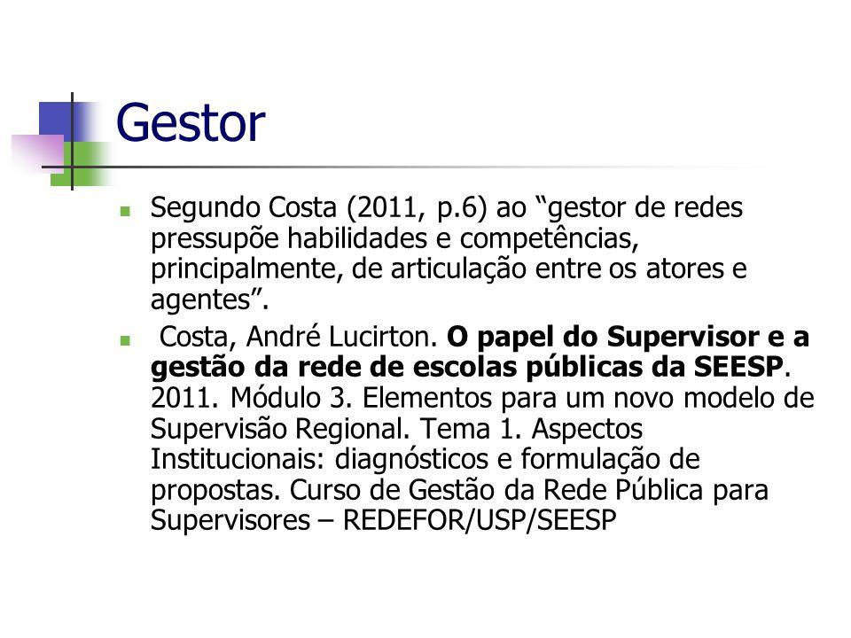 Gestor Segundo Costa (2011, p.6) ao gestor de redes pressupõe habilidades e competências, principalmente, de articulação entre os atores e agentes .