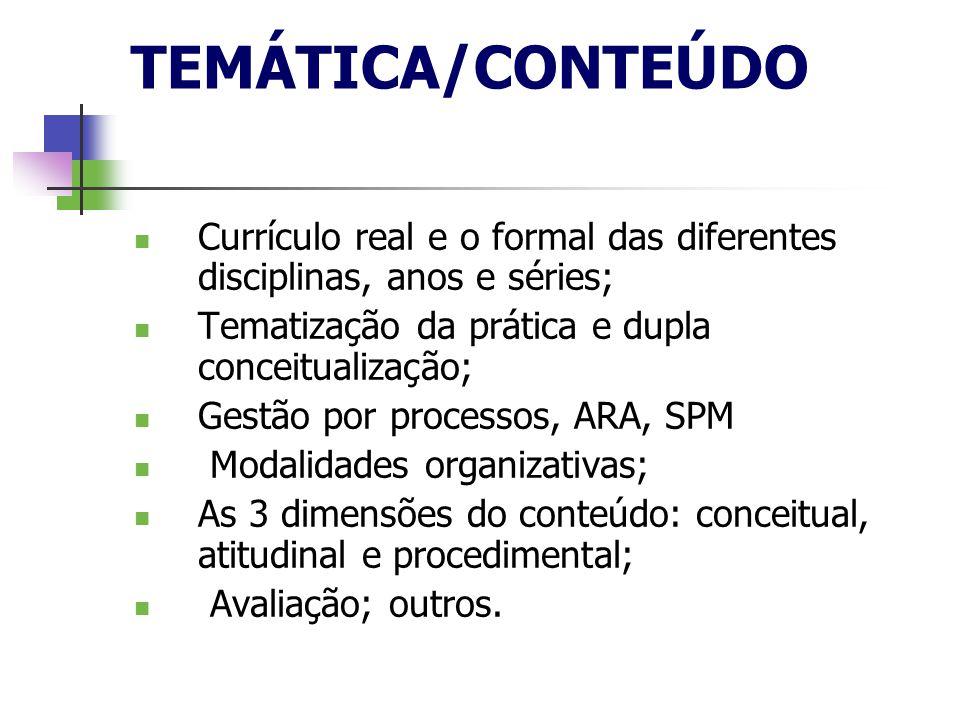 TEMÁTICA/CONTEÚDO Currículo real e o formal das diferentes disciplinas, anos e séries; Tematização da prática e dupla conceitualização;