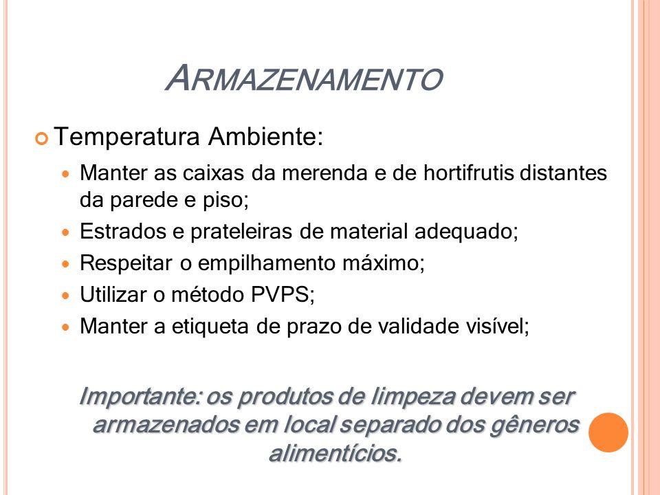 Armazenamento Temperatura Ambiente: