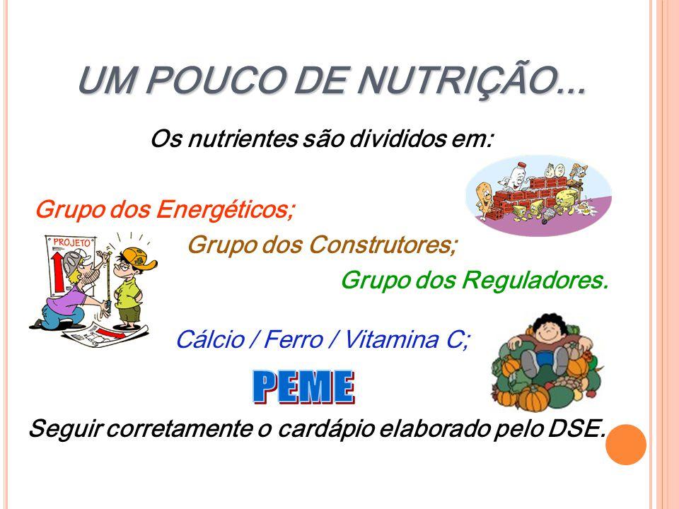 UM POUCO DE NUTRIÇÃO... PEME Os nutrientes são divididos em: