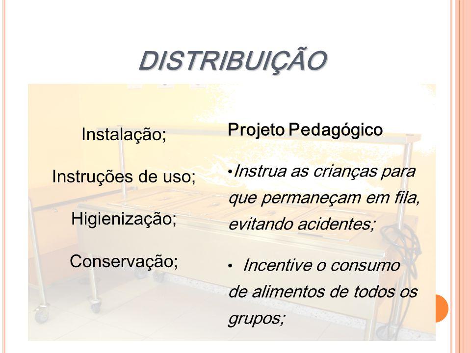 DISTRIBUIÇÃO Instalação; Projeto Pedagógico Instruções de uso;