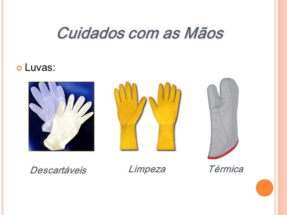 Cuidados com as Mãos Luvas: Descartáveis Limpeza Térmica